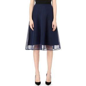 Sandro blue mesh overlay skirt